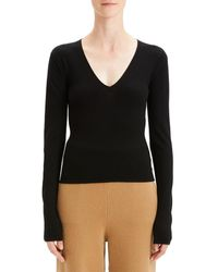 Theory Low V-neck Wool-blend Sweater - Black