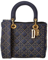 Dior Medium Lady Quilted & Studded Tote - Blue