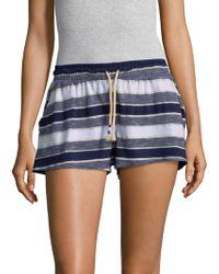 Sol Angeles Tahoe Stripe Flounce Shorts - Blue