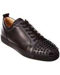 Christian Louboutin Louis Junior Leather Sneaker - Black