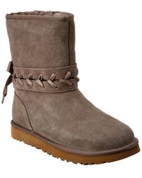 UGG Classic Lace Short Suede Boot - Grey