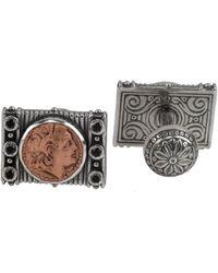 Konstantino Aeolus Silver Black Spinel Cufflinks - Multicolor