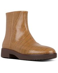 Fitflop Madelaine Checked Patent Bootie - Brown