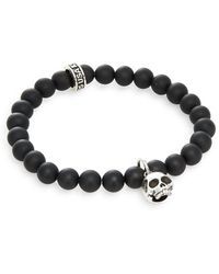 King Baby Studio - Black Onyx & Sterling Silver Beaded Skull Charm Bracelet - Lyst