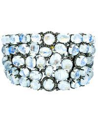 Arthur Marder Fine Jewelry Silver 2.80 Ct. Tw. Diamond & Moonstone Bracelet - Blue