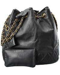 Chanel Black Lambskin Leather Cc Backpack