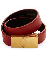 Céline Classic Double Strap Leather Bracelet - Red