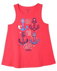 Nautica Love Your Stripes Anchors Tank - Red