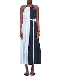 Tibi Tech Poplin Colourblock Dress - Blue