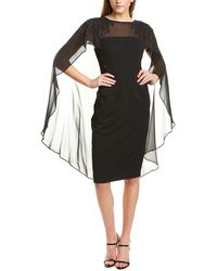 Adrianna Papell Crepe Cocktail Dress With Soutach Embroidery - Black