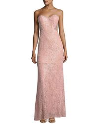La Femme - Strapless Embroidered Column Gown - Lyst