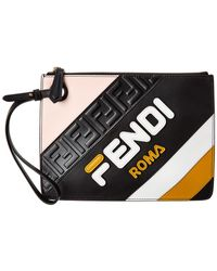 Fendi Mania Triplette Xs Leather Clutch