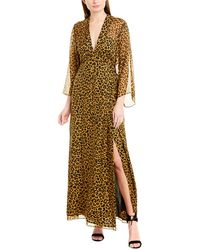 Michelle Mason Long Sleeve Plunge Gown - Multicolour
