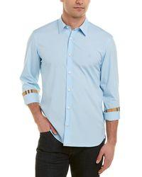 Burberry Check Cuff Stretch Poplin Woven Shirt - Blue