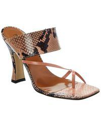 Paris Texas Snake-embossed Leather Sandal - Pink