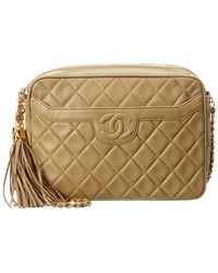 Chanel Beige Quilted Lambskin Leather Medium Camera Bag - Natural