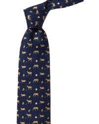 Hermès Navy Silk Tie - Blue