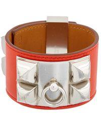 Hermès Red Swift Leather Collier De Chien Cuff Bracelet