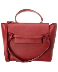 Céline Micro Belt Bag Leather Tote - Red
