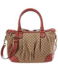 b1c59d86e44703 Gucci - Beige Diamante Canvas & Pink Leather Sukey Satchel - Lyst