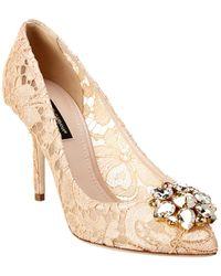 Dolce & Gabbana Bellucci Embellished Taormina Lace Pump - Pink