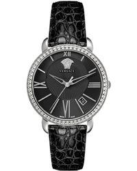 Versace Krios Leather Watch - Black