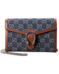 Gucci Dionysus Mini GG Denim & Leather Shoulder Bag - Blue