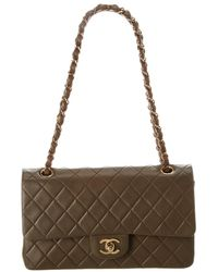 Chanel - Brown Quilted Lambskin Leather Medium Double Flap Bag - Lyst