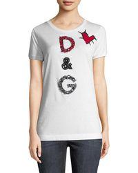 Dolce & Gabbana Embellished Patch T-shirt - White