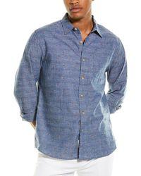 Grayers Avington End-on-end Linen-blend Shirt - Blue