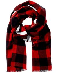 Moncler Check Wool Scarf - Red