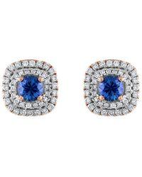 Heritage 18k Rose Gold 1.40 Ct. Tw. Diamond & Sapphire Earrings - Blue