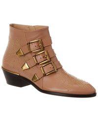 Chloé Susanna Studded Leather Bootie - Brown