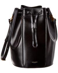 Saint Laurent Talitha Medium Leather Bucket Bag - Black
