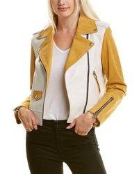 Mackage Baya Leather Moto Jacket - Yellow