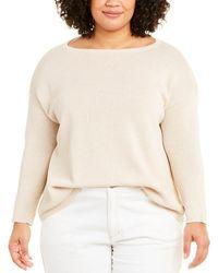Eileen Fisher Plus Bateau Neck Linen-blend Sweater - Natural