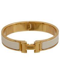 Hermès Palladium-plated & White Enamel Clic-clac H Bangle - Metallic