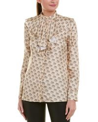Gucci Brand Stamp Silk Shirt - Natural
