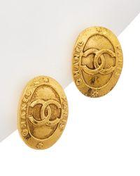 Chanel Gold-tone Paris Oval Earrings - Metallic