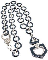 Arthur Marder Fine Jewelry Silver 3.26 Ct. Tw. Diamond & Onyx Necklace - Metallic