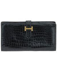Hermès Black Crocodile Leather Bearn Wallet Ghw