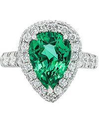 Diana M. Jewels . Fine Jewellery Platinum 5.59 Ct. Tw. Diamond & Emerald Ring - Green