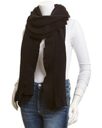 White + Warren Cashmere Ruffle Wrap - Black