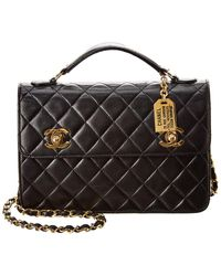 Chanel Black Quilted Lambskin Leather Briefcase