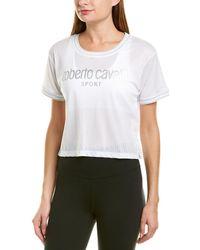 Roberto Cavalli Mesh Crop Top - White