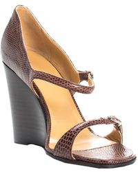 Hermès Brown Strappy Lizard & Leather Wedge Sandal (size 36, Never Worn)