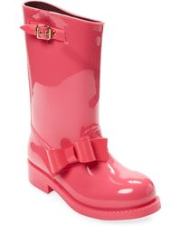 RED Valentino Solid Bow Rain Boot - Pink