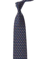 Ferragamo Dark Blue Turtle Silk Tie
