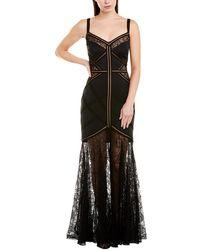 Tadashi Shoji Jelena Neoprene & Lace Strap Gown - Black