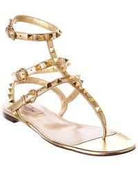 Valentino Valentino Garavani Rockstud Caged Leather Ankle Strap Sandal - Metallic